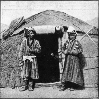 Smiling Kirghiz at the Door of Their Temporary Abode