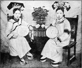 Manchurian Ladies and Their Flower-Decked Headgear